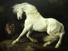 George Stubbs (1724-1806) - A Horse Frightened by a Lion, 1770 : detail     Horse Paintings