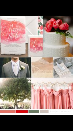 Coral-pink wedding