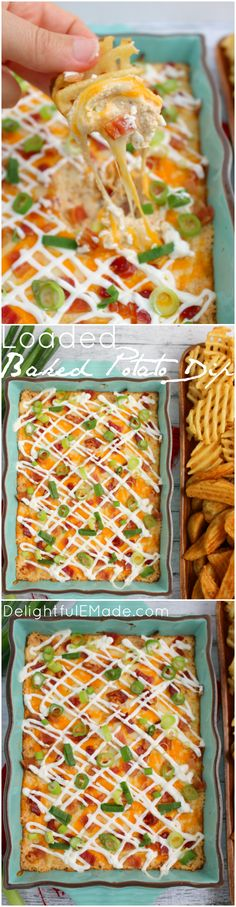 All of the amazing toppings on a loaded baked potatoes in one hot, glorious dip!  Served with potato wedges and waffle fries, this hot, cheesy appetizer is one that everyone will love when watching the big game! Fantastic for parties, holidays and get-togethers, too! #ad #gametimedips