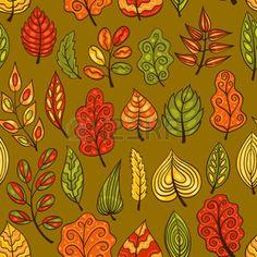 dibujos de hojas de otoño: Cartoon dibujado a mano sin patrón, con hojas de otoño. Vector de fondo.