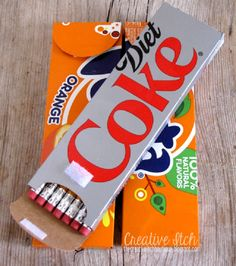 Soda Boxes Transformed Into Pencil Cases