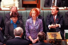 The new member for Lalor Julia Gillard gets sworn in as a member of the house of Representatives in 1998. Bye Julia Gillard - this country isn't sophisticated enough to appreciate your gender or economic results - let alone your knitting.