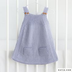 Baby dress with straps knitted in two pieces. Baby Cardigan Knitting Pattern Free, Knit Vest, Baby Knitting Patterns, Knitting Designs, Baby Outfits, Knit Baby Dress, Crochet Shawls And Wraps, Crochet Blouse, Baby Winter