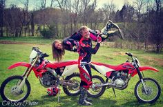 Those cute dirt bike couples!! maybe one day my husband will want to ride with me