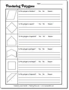 Pondering Polygons freebie from Laura Candlers Geometry File Cabinet - CCSS aligned - Math.Content.5.G.B.3