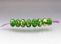 Lampwork glass bead set  green gold leaf 24k by AnneLondezGlass, $24.90