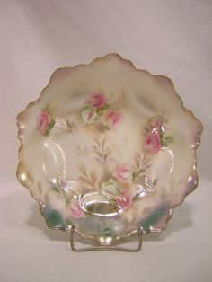 "RS Prussia 10"" Pink and White Roses Floral Bowl"