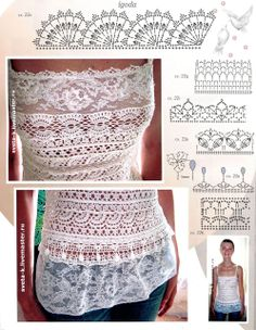 Crochetemoda: Top de Crochet com Renda Elastic lace as a ribbon band