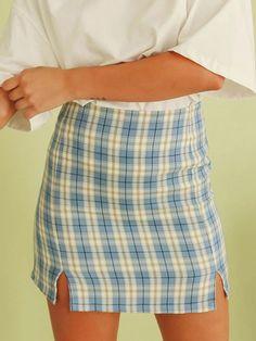 Plaid Skirt For Women Double Slit Women Bodycon Skirt Short Skirts, Mini Skirts, Split Skirt, Body Con Skirt, Light Orange, Plaid Skirts, Fashion Colours, Blue Fabric, Jeans Leggings