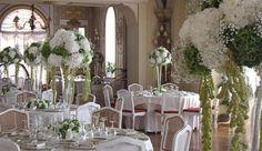 decorazioni floreali alte in bianco e verde