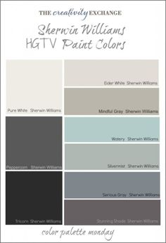HGTV Paint Colors from Sherwin Williams Color Palette Monday- this looks like the colors in my house with different names. Seriously…that's crazy. HGTV Paint Colors from Sherwin Williams Color Palette… Hgtv Paint Colors, Exterior Paint Colors, Paint Colors For Home, Wall Colors, Paint Colours, Exterior Color Palette, House Paint Exterior, Color Palette Gray, Watery Paint Color