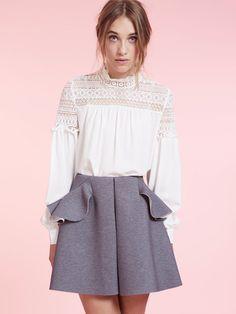 Dahlia Millie Grey Neoprene Skater Skirt with Peplum and Contrast Detail | Dahlia