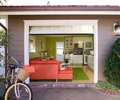 Garage Makeover A neglected storage space becomes a fun garage hangout space full of personality.
