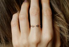 Modern Engagement Ring, Diamond Engagement Ring, Trillion Diamond ring, Horseshoe ring, 14k GOLD