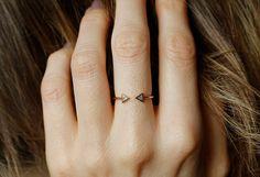 Modern Engagement Ring, Diamond Engagement Ring, Trillion Diamond ring, Horseshoe ring, 14k GOLD