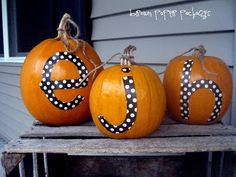 Halloween Pumpkins - could just tie a cute bow around pumpkins and it would probably be cuter than this