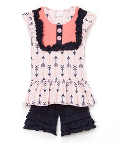 Loving this Pink Geometric Top & Navy Shorts - Infant, Toddler & Girls on #zulily! #zulilyfinds