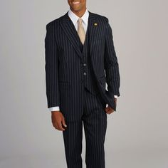Stacy Adams Men's Navy/White Stripe 3-piece Suit   Overstock.com Shopping - Big Discounts on Stacy Adams Suits