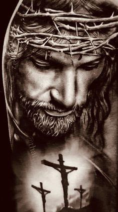 Jesus Tattoo Sleeve, Religious Tattoo Sleeves, Sleeve Tattoos, Jesus Tatoo, Christian Sleeve Tattoo, Christus Tattoo, Jesus Tattoo Design, Jesus Drawings, Heaven Tattoos