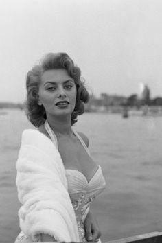 Sophia Loren in Venice, Italy, 1955. See 51 more rare, vintage photos of celebrities enjoying summer.