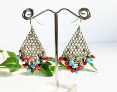 Dangle Earrings With Turquoise Coral Color Beads, Southwestern Silver Chainmaile Drop Earrings with Rhinestones, Vintage Jewelry by PrettyShinyThings4U on Etsy #Earrings #DangleEarrings #Southwestern #Turquoise #BeadedEarrings #Silver #NativeAmerican