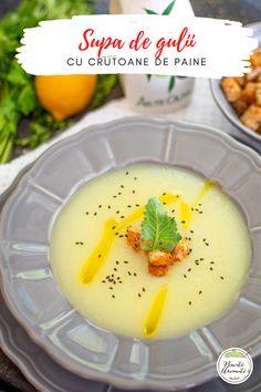 Rețeta simplă și rapidă de supă de gulii. O supă gustoasă, hrănitoare, cu multe vitamine. Servită cu câteva crutoane crocante, este un deliciu! #gulii #supa #retetedesupa #supacrema #vegan #depost #retetevegane #retetedepost #retete #reteteromanesti #mancare #retetesimple #demancare #vegetal #legume #supadelegume Vegan Pasta, Baby Food Recipes, Panna Cotta, Indoor, Vegetables, Ethnic Recipes, Photograph, Soup, Pictures