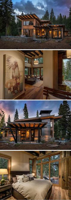 This modern retreat is as an ideal place take in some fresh mountain air and unwind in front of a roaring fire. Inside, the sleek modern dwelling soaks up its rustic landscape though towering windows, while vaulted ceilings brighten wood-paneled spaces with a wealth of natural light.
