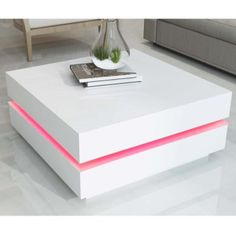 Tiffany White High Gloss Cubic LED Coffee Table | Furniture123