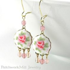 Dangle Earrings Shabby Cottage Chic Roses Pink Green | Etsy Fabric Covered Button, Covered Buttons, Shabby Chic Cottage, White Cottage, Fabric Jewelry, Czech Glass Beads, Handmade Jewelry, Etsy Handmade, Earrings Handmade