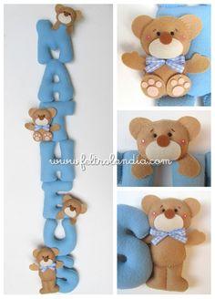 Enfeite de Porta da Maternidade com o nome do bebê em formato de móbile, com o tema Ursos. www.feltrolandia.iluria.com