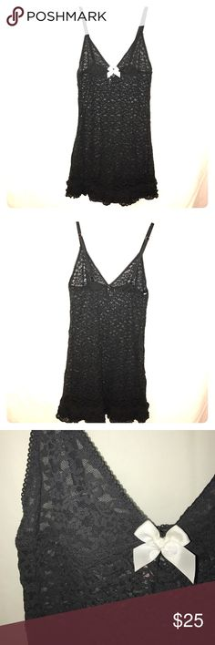 VS Sexy Little Things Nightie All over black lace with white bow & adjustable straps, in perfect condition Victoria's Secret Intimates & Sleepwear Chemises & Slips