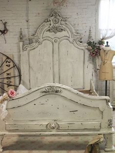 Shabby Chic. Isn't this bed fabulous? The possibilities are endless with what you could do with this bed as a centerpiece in your bedroom. #shabbychic #shabbychicbedroom