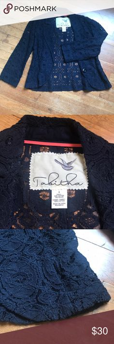 Anthropologie Lace Blazer Navy Lace Blazer worn once for family photos (with green dress in my closet!) purchased at Anthropologie and is in excellent condition. Size 4 true to size Anthropologie Jackets & Coats Blazers