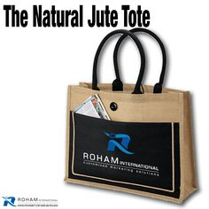 #RohamInt #ToteoftheWeek– The Natural Jute Tote!  The Natural Jute Tote is a great promotional bag made of natural fibers. This stylish looking large two-tone tote made from jute fiber is sure to turn heads and get your brand noticed.