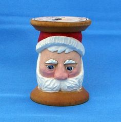 Spool+Santa | Hand Carved Santa in Vintage Thread Spool - Christmas Ornament