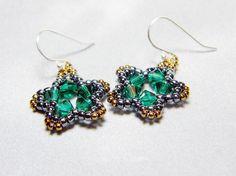 """Dearie"" Emerald Green Hematite Black Bronze Star Earrings by WhimsyBeading, $15.00"
