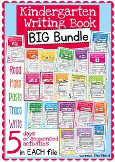 Kindergarten Writing Books Big Bundle - Sentences, Sight W Kindergarten Writing, Kindergarten Classroom, Teaching Reading, Teaching Ideas, Classroom Ideas, Dr. Seuss, Writing Lessons, Writing A Book, Writing Process