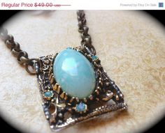 CIJ SALE Vintage Robins egg necklace- Aqua Blue Necklace- Marbled Stone Round-Beach Summer-Vintage Necklace- Spring Summer Blue- Turquoise S - pinned by pin4etsy.com