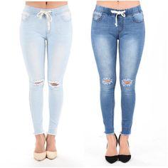 Plus Jeans Jogger Knee Slit Cut Tie Waist Legging Skinny Pants Casual Stretch #JerseyGlam #Jogger