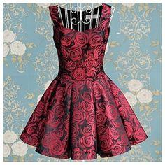 I found 'Vintage Inspired Brocade Burgundy Summer Roses Tea Dress. Cheap Dresses, Day Dresses, Short Dresses, Peplum Dresses, Dresses 2013, Robe Swing, Swing Dress, Robes Vintage, Vintage Dresses
