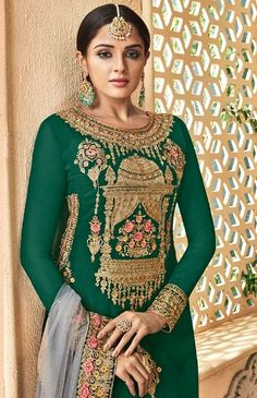 Palazzo With Kurti, Eid Special, Eid Outfits, Sharara Suit, Green Tops, Festival Wear, Wedding Wear, Designer Clothing, Green Colors