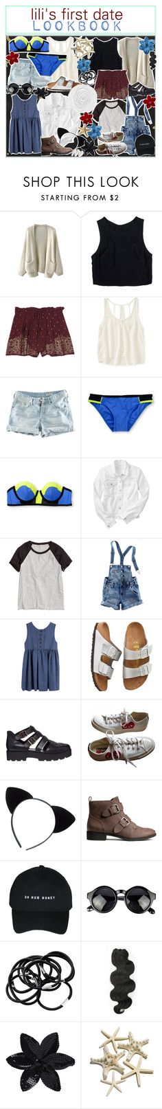 """☼; first date lookbook"" by ocean-clique-xo ❤ liked on Polyvore featuring Lush Clothing, Aéropostale, H&M, Gap, Birkenstock, Vagabond, Converse, &K, ASOS and oceanbabelilixo"