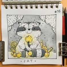 • FAT• as always tricky one #inktoberday16 #fat #inktober2017 #inktober #blackandyellow #tania_ink #inkmyday #inking #illustration #raccoon #raccoonart #sweets #candies #cookies #drawing