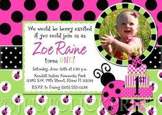 Whimsy Ladybug Birthday Photo Invitation   by justclickprintstudio, $15.00