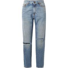 Saint Laurent Distressed boyfriend jeans (€540) ❤ liked on Polyvore featuring jeans, pants, bottoms, saint laurent, destroyed jeans, straight-leg jeans, torn jeans, frayed-hem jeans and blue boyfriend jeans