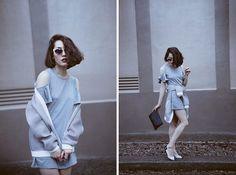 Grey, blue, fashion, style, dress, hoodie