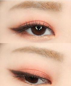15 trendy eye makeup peach make up 15 trendige Augen Make- Korean Makeup Look, Asian Eye Makeup, Simple Eye Makeup, Natural Eye Makeup, Smokey Eye Makeup, Cute Makeup, Lip Makeup, Makeup Eyeshadow, Beauty Makeup