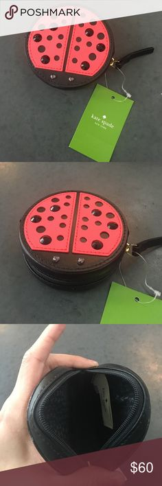 "Kate Spade Lady Bug Coin Purse Ladybug coin purse  Zipper Closure  Embellished black glass stones stud on front Kate Spade gold tone logo plaque on back.   Great for coins, or other small items   Measures: Height 3.1/2"", Length 3.1/2"", 1.1/4"". kate spade Bags Mini Bags"