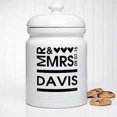This Mr. & Mrs. Personalized Cookie Jar is such a great wedding gift idea! It comes in 6 colors, too!