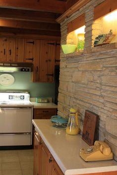 a little kitchen lightens up | kitchens, knotty pine and lights